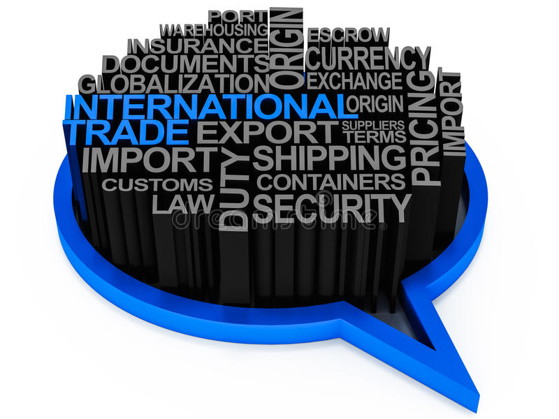 International trade words. Words related to international or global trade business involving export or import of goods and services royalty free illustration