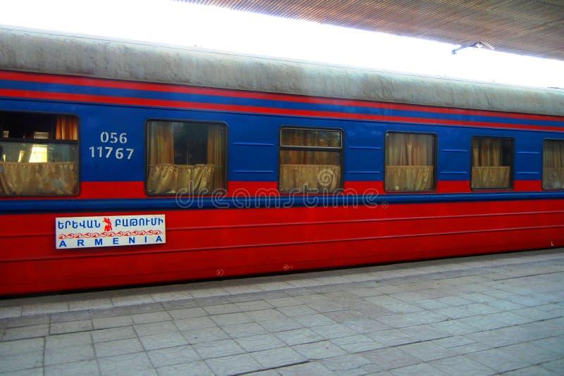 International train between Georgia and Armenia royalty free stock photos