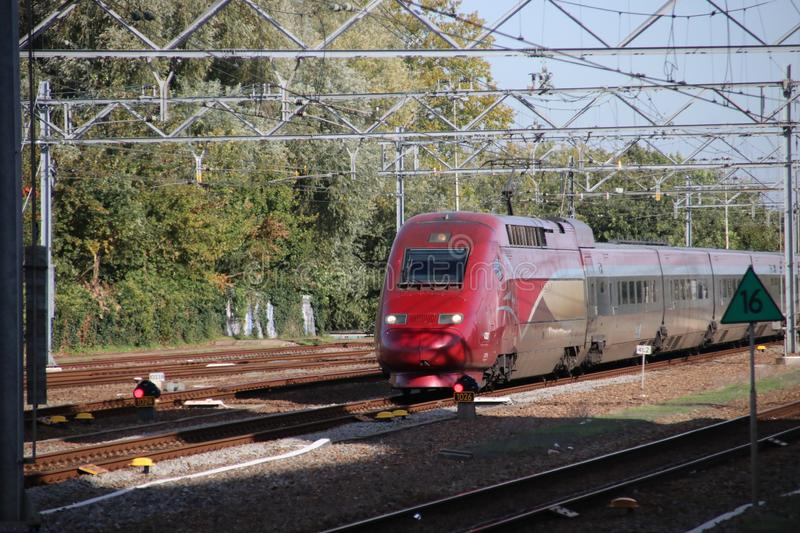 International train Thalys between Amsterdam and Paris passes station of Leiden. This is a bypass due to problems on the internati royalty free stock images