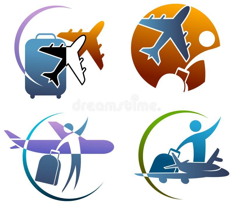 International travel. Illustrated international travel logo set on white background vector illustration