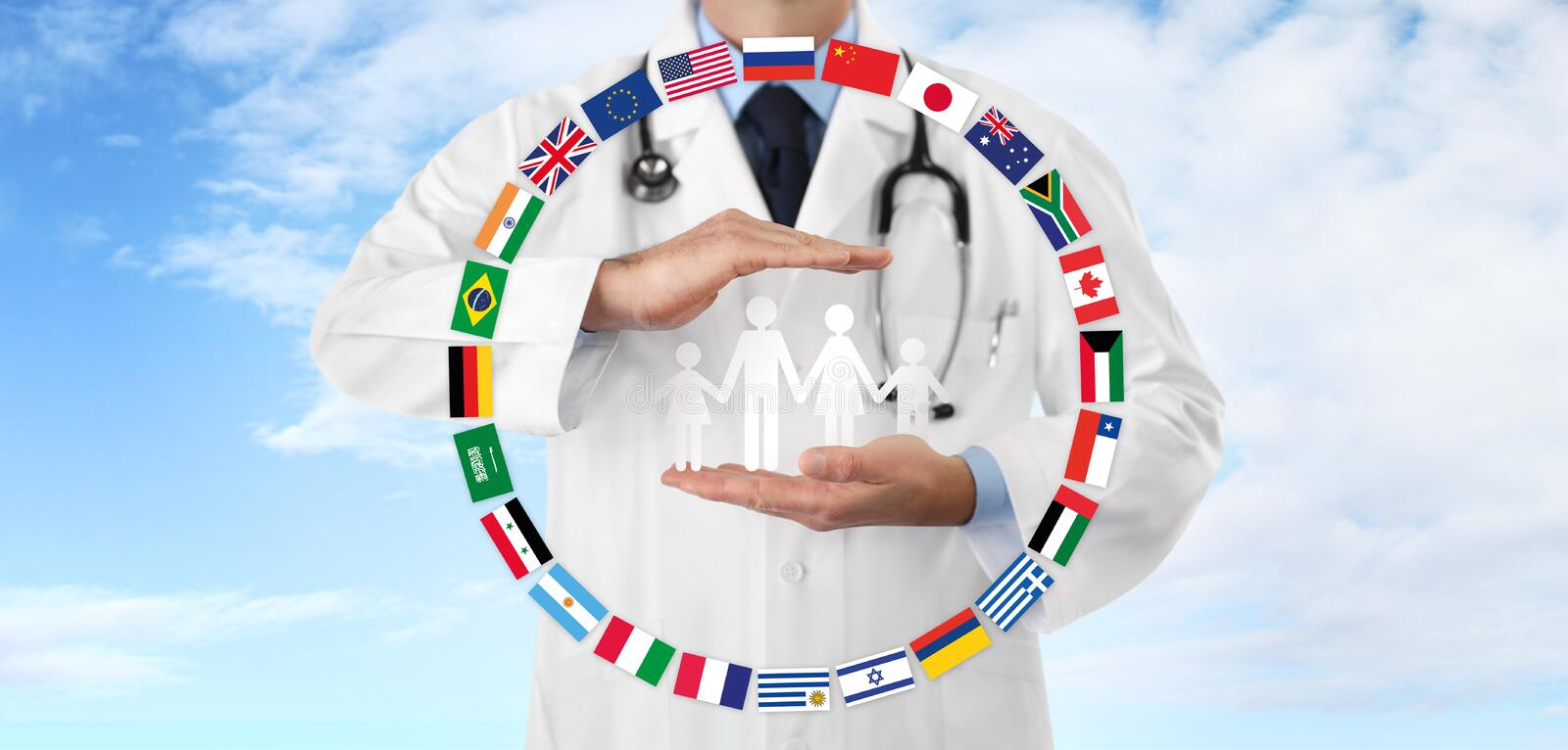 International travel medical insurance concept, doctor`s hands protect a family icon with flags, on blue sky royalty free illustration