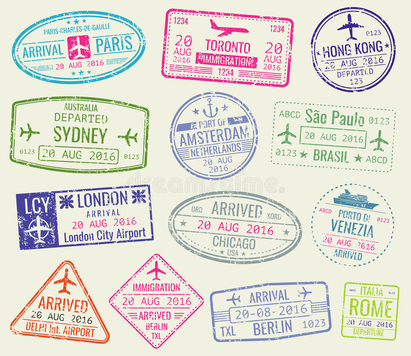 International travel visa passport stamps vector set. Paris and toronto, hong kong and port of amsterdam illustration stock illustration