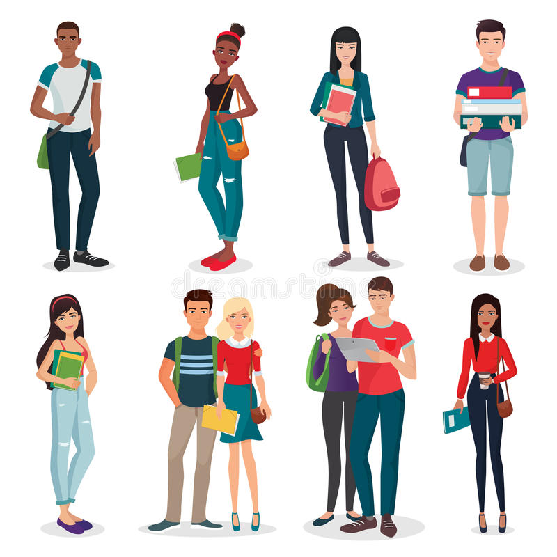 International university or college group of young students characters and couples collection. vector illustration