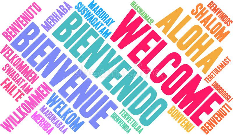 International Welcome Word Cloud royalty free illustration