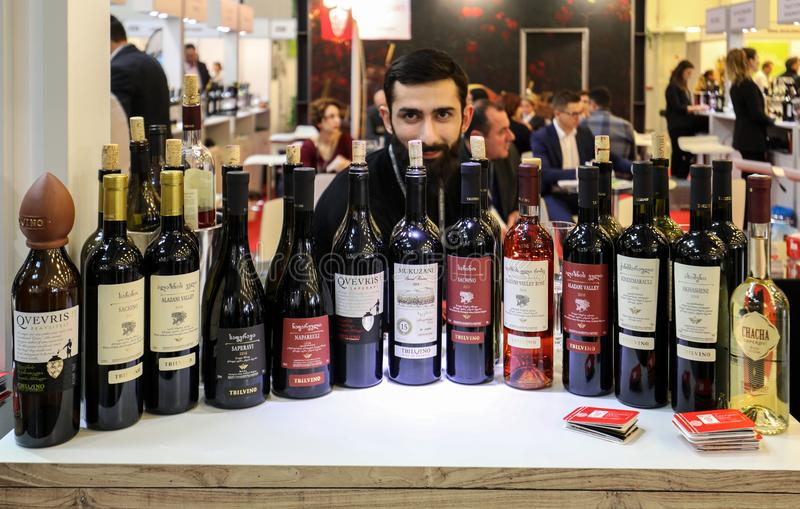 International Wine Trade Fair ENOEXPO in Cracow. Producers of wine from all around the world meet the importers distributors and representatives. Cracow stock photo