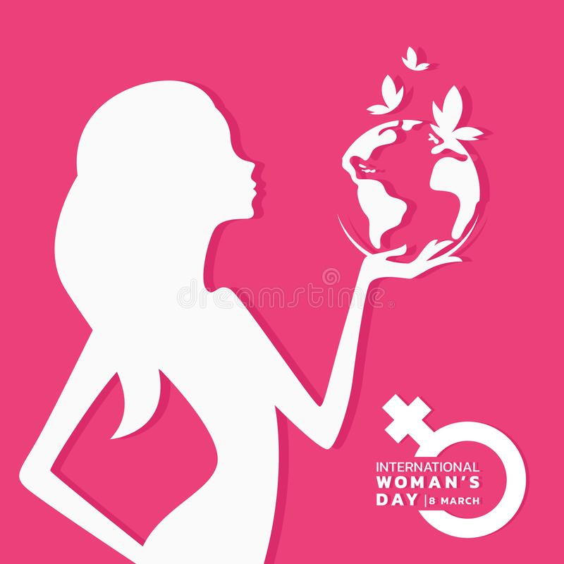 International women day banner with white woman hold earth world and butterfly sign on pink background vector design vector illustration