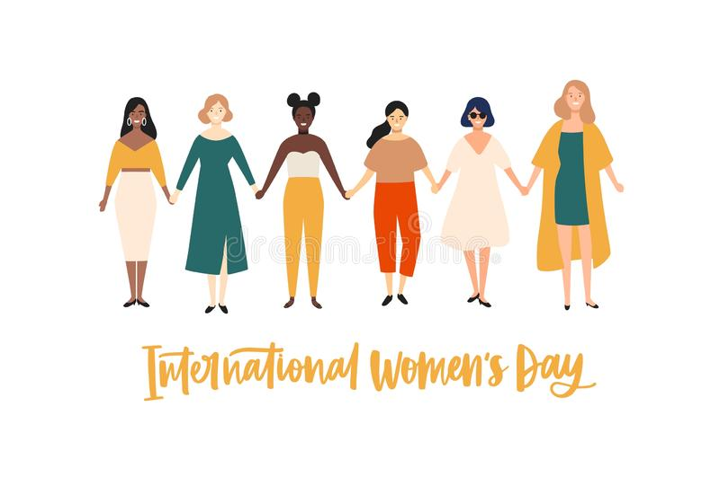 International Women`s Day banner, placard or greeting card template with smiling young girls or feminists holding hands stock illustration