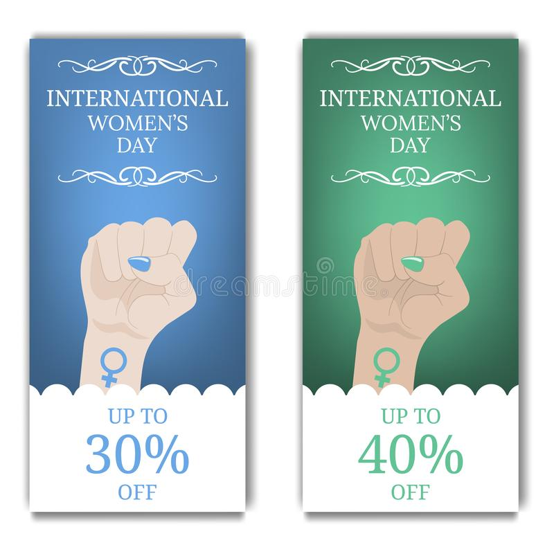 International Women`s Day Discount, Flyer, Brochure. Women`s March. Multinational Equality. Female hand with her fist raised up. stock illustration