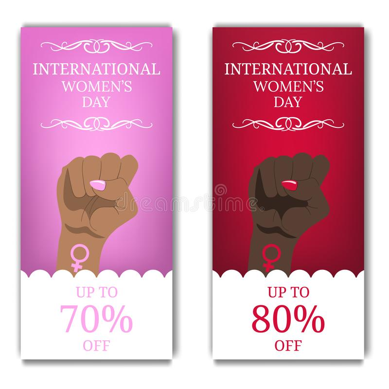 International Women`s Day Discount, Flyer, Brochure. Women`s March. Multinational Equality. Female hand with her fist raised up. vector illustration