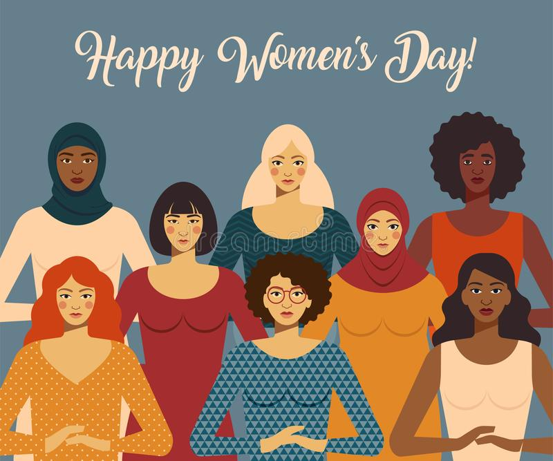International Women s Day. Female diverse faces of different ethnicity. Vector template with for card, poster, flyer and. International Women s Day. Female royalty free illustration