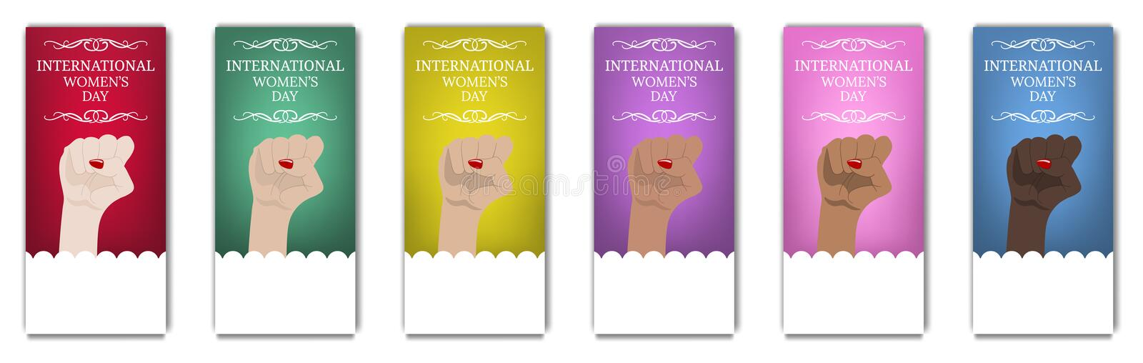International Women`s Day Flyer, Brochure. Women`s March. Multinational Equality. Female hand with her fist raised up. Girl Power. vector illustration