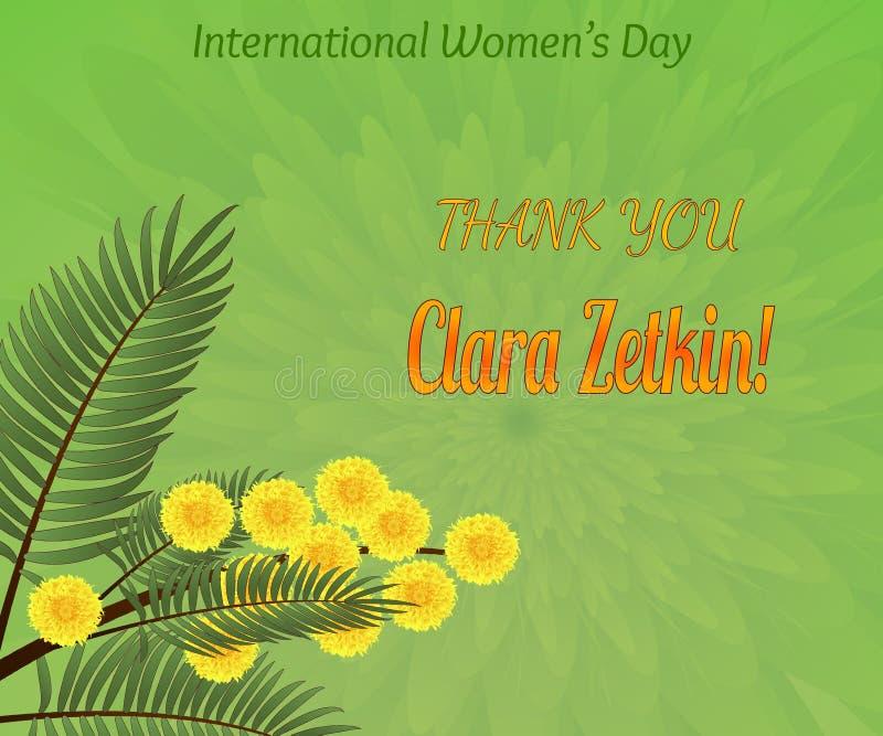 Greeting poster, gratitude to Clara Zetkin, founder of the International Women's Day. Greeting poster, gratitude to Clara Zetkin, German revolutionist stock illustration