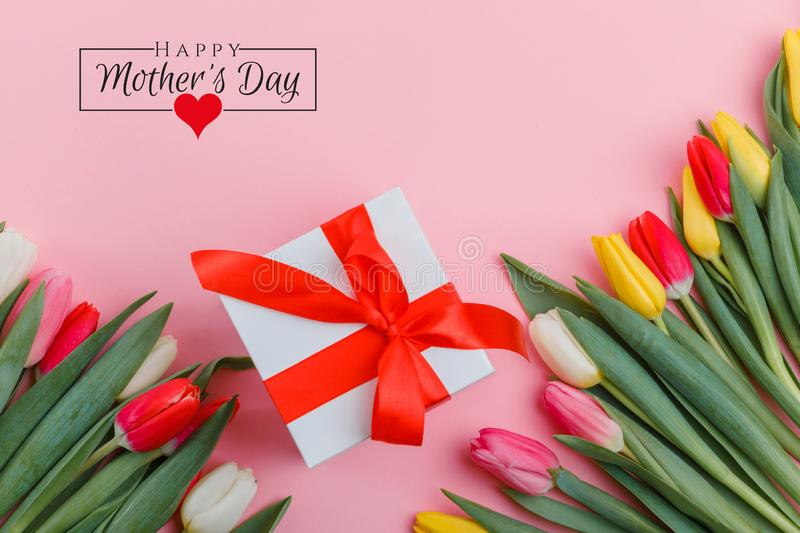 International Women`s Day on 8 March design. Tulips Flowers on background. vector illustration