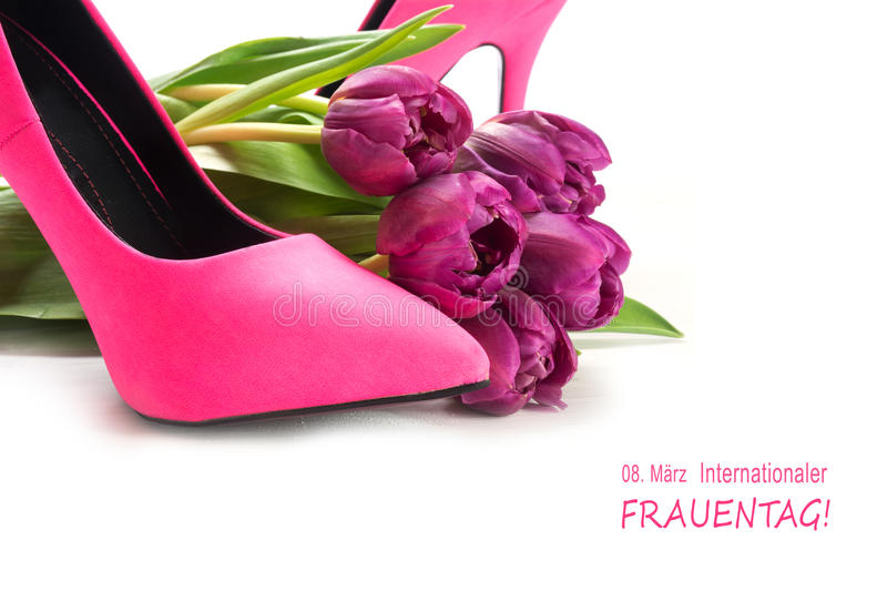 International Women's Day 8 March german text Internationaler Fr. International Women's Day 8 March in german text Internationaler Frauentag, with ladies pink royalty free stock images