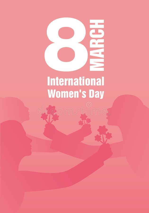 International Women`s Day. Silhouettes of women with outstretched arms holding bouquets of flowers. Main title March 8 royalty free illustration