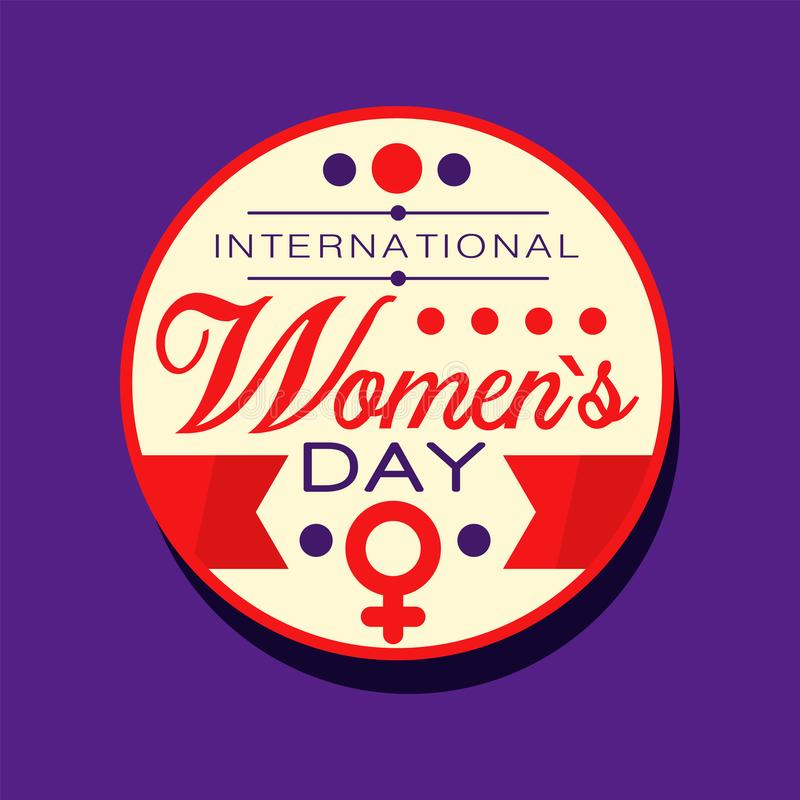 International women s day sticker or label with ribbons red purple and white colors 8 march greeting card or tag for gift template design