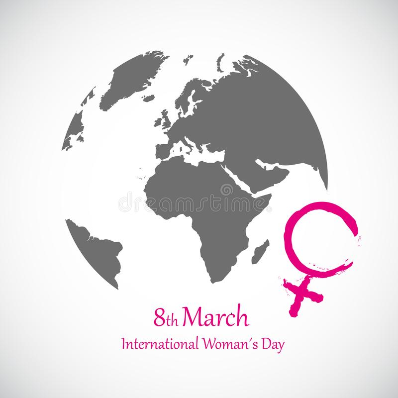 International women`s day 8th march pink female symbol and earth. Vector illustration EPS10 vector illustration