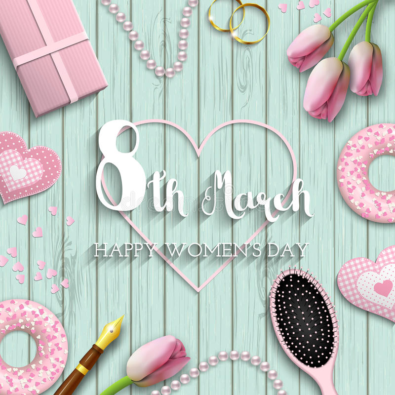 International women`s day, 8th march, text on blue wooden background, illustration royalty free illustration