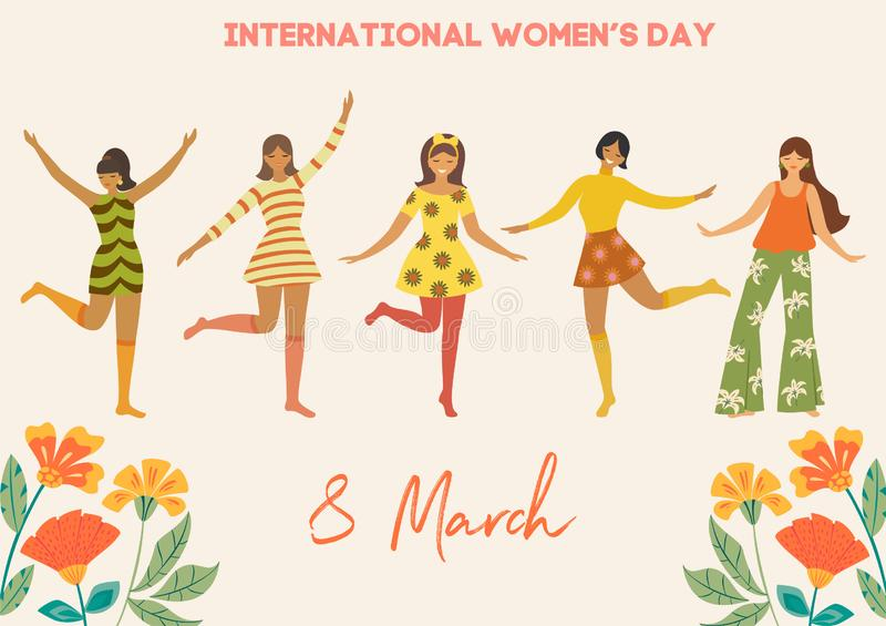 International Women`s Day. Vector vintage template with cute dancing girls and flowers in retro style. Can be used for banner, pos royalty free illustration