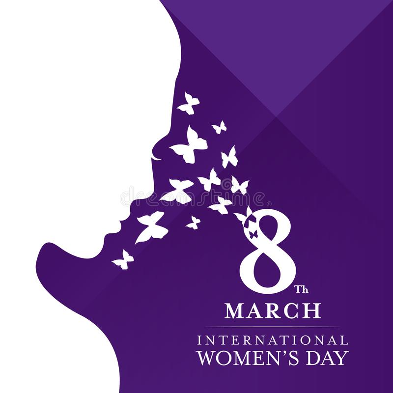 International women`s day with White face women lady. And butterfly on violet background vector illustration