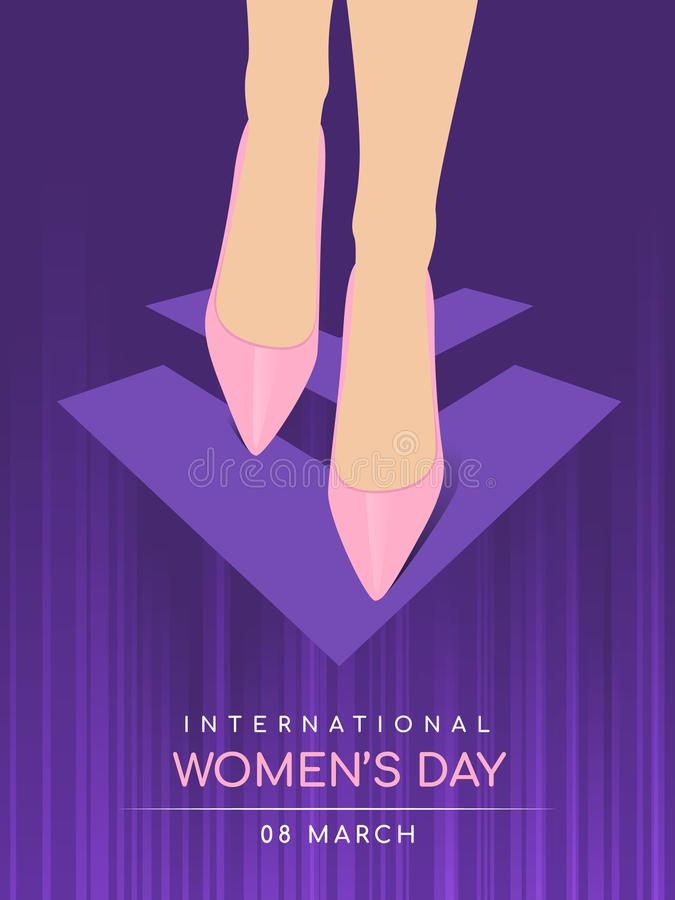 International women`s day with Women wear shoes walking stock illustration