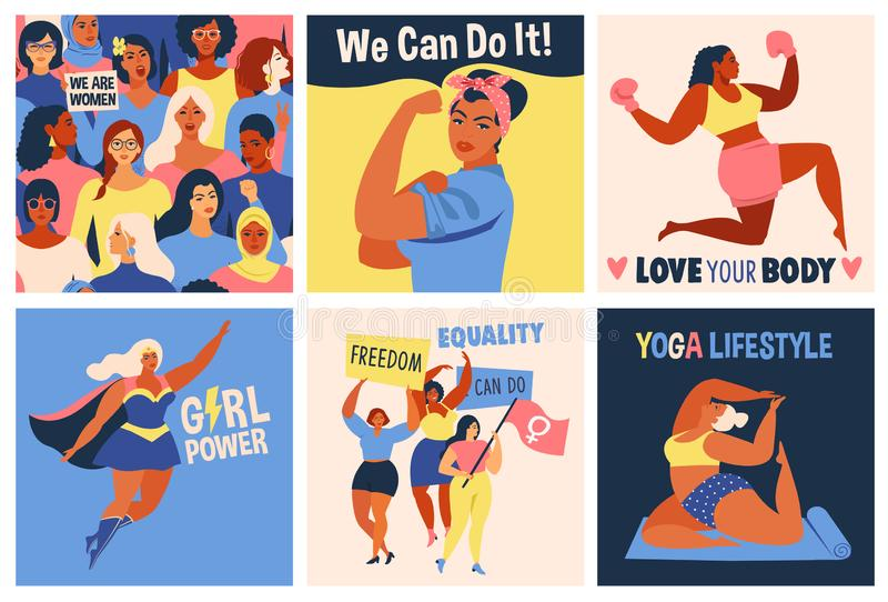 International Womens Day. We Can Do It poster. Strong girl. Symbol of female power, woman rights, protest, feminism. Vector colorful banners woman in retro stock illustration