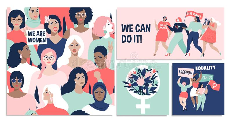 International Womens Day. We can do it Vector templates for card, poster, flyer and other users. stock illustration