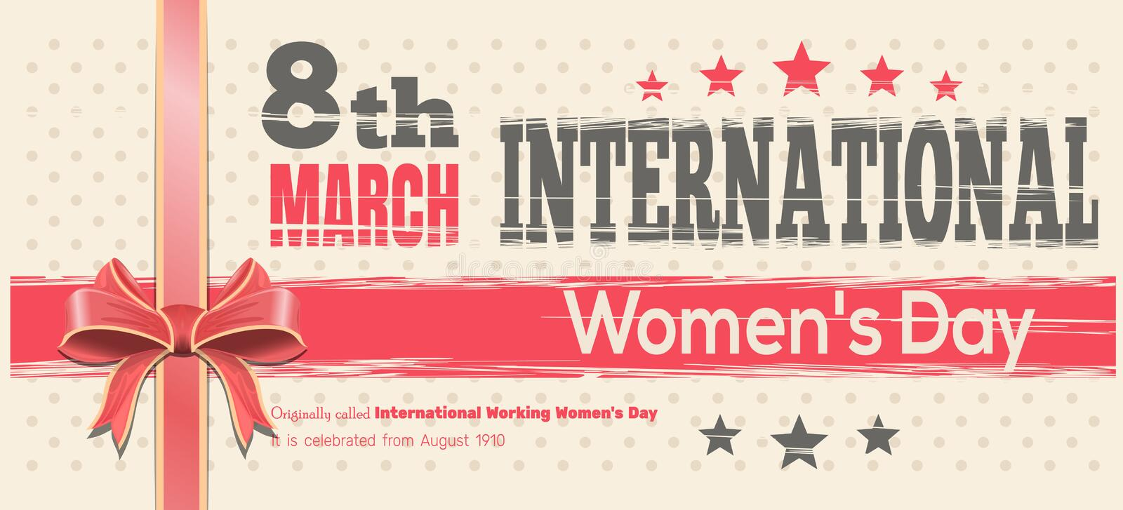 International Womens Day card. Celebrate the Power of Women on 8th March royalty free illustration