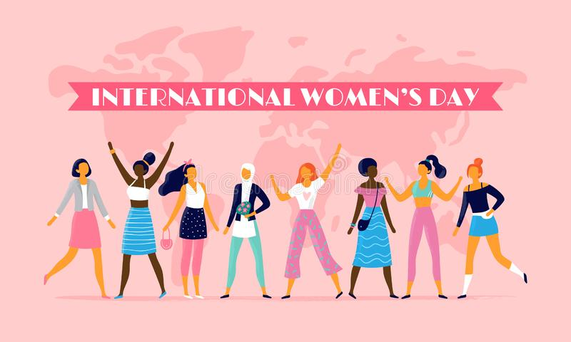 International womens day. Celebrating eight march, sisterhood community and multinational female people vector flat stock illustration