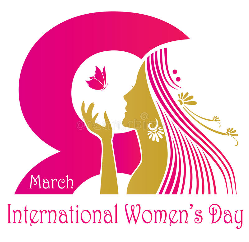 International womens day design. International Womens Day celebration poster or banner design with a woman in golden silhouette and pink butterfly and text 8 stock illustration