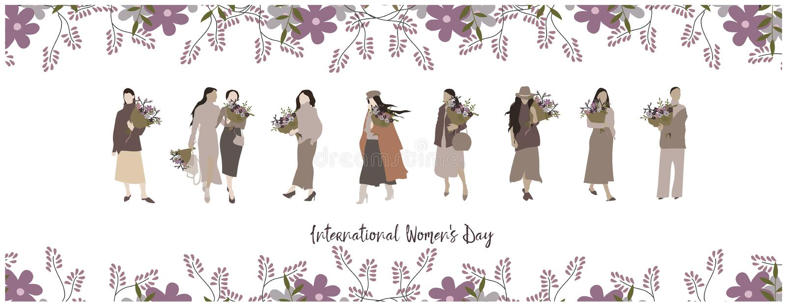 International Womens Day. Girl with a bouquet of flowers. Hand drawn fashion woman. Young woman or girl dressed in trendy clothes. Hand drawn Womens Day banner vector illustration