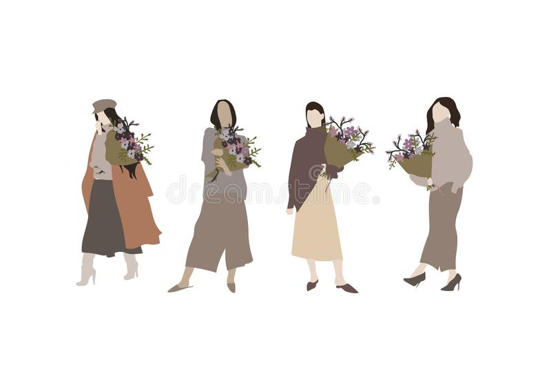 International Womens Day. Girl with a bouquet of flowers. Hand drawn fashion woman. Young woman or girl dressed in trendy clothes. Hand drawn Womens Day banner stock illustration