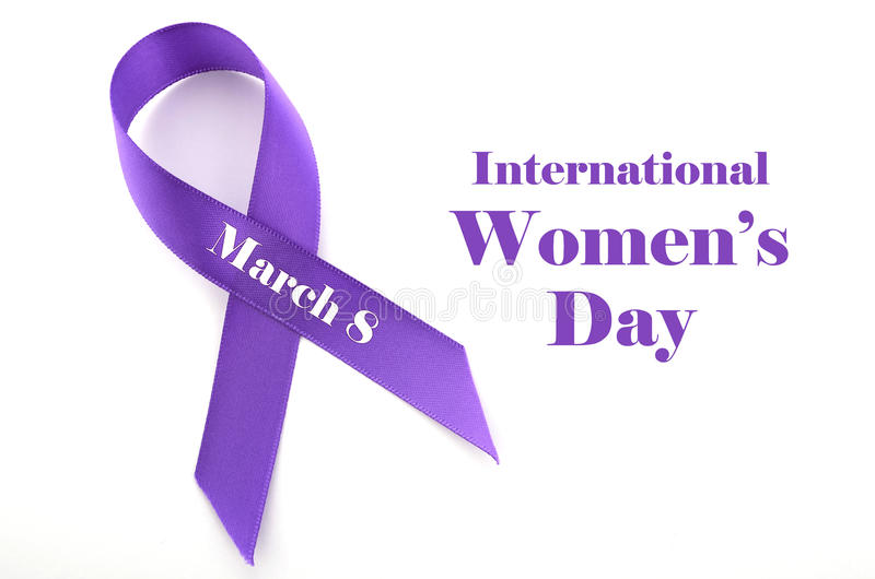 International Womens Day, March 8, purple ribbon stock images