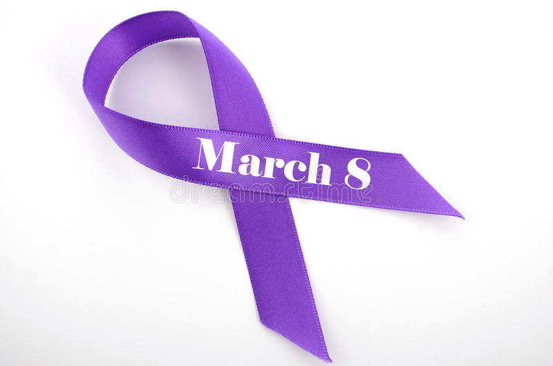 International Womens Day, March 8, purple ribbon stock photos