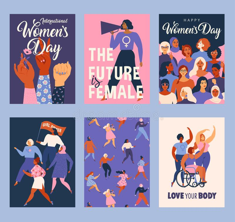 International Womens Day. Vector templates for card, poster, flyer and other users stock illustration