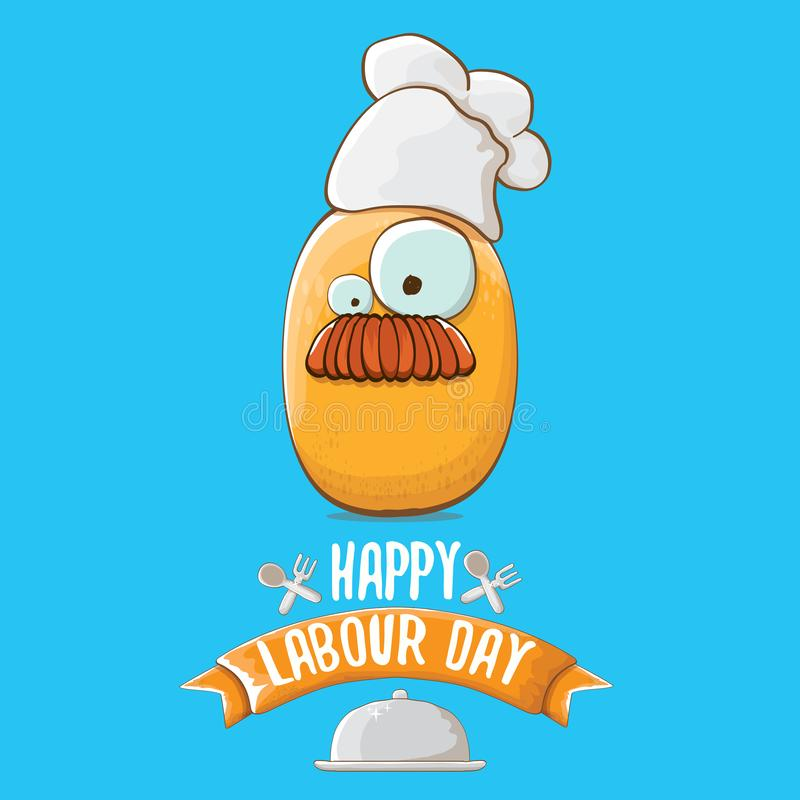 International workers day or labour day greeting card . vector funny cartoon tiny brown smiling chef potato with chef vector illustration