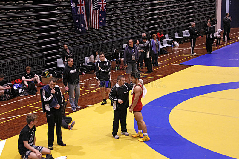 International Wrestling Challenge Auckland NZ. AUCKLAND-JUL. 3, 2015: Wrestlers, 16-20 years old from USA, Australia, New Zealand and American Samoa participate stock photos
