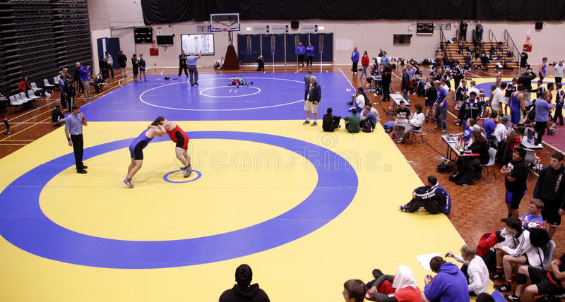International Wrestling Challenge Auckland NZ. AUCKLAND-JUL. 3, 2015: Wrestlers, 16-20 years old from USA, Australia, New Zealand and American Samoa participate stock photo