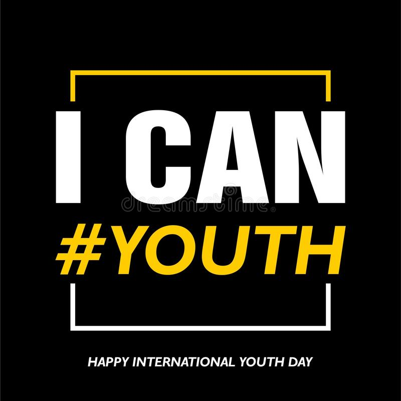 International youth day, 12 August, I can royalty free illustration