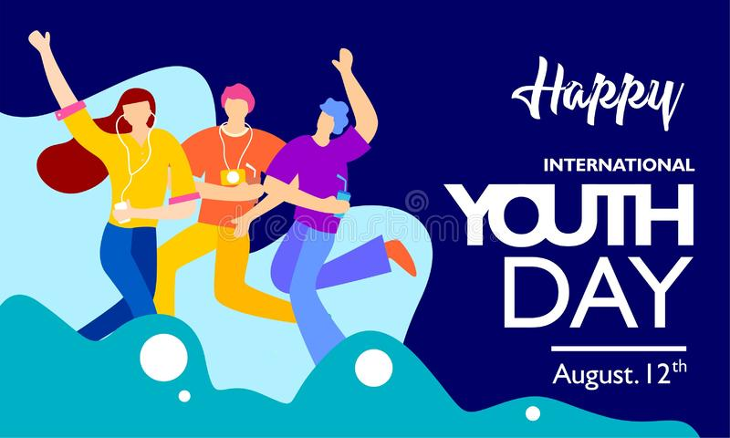 International youth day, August 12 th. with active and passionate young people illustration. on blue wave shape and blue backgroun royalty free illustration