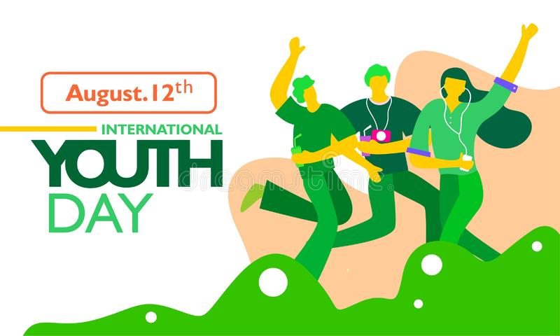 International youth day, August 12 th. with active and passionate young people illustration. vector illustration