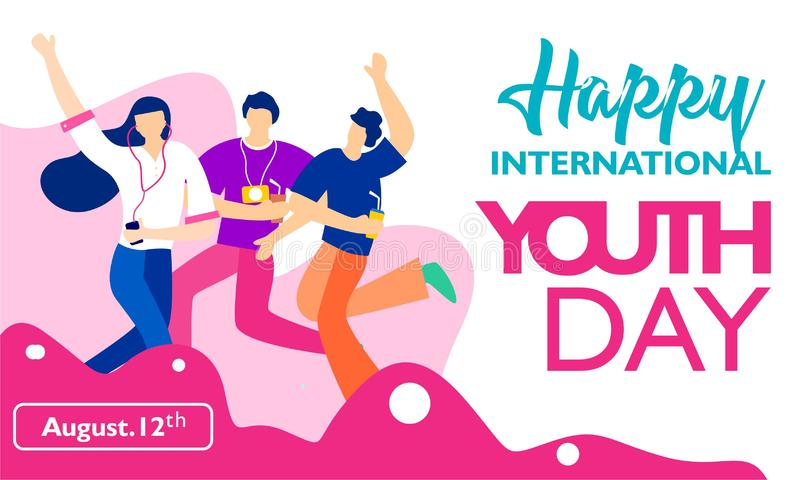 International youth day, August 12 th. with active and passionate young people illustration royalty free illustration