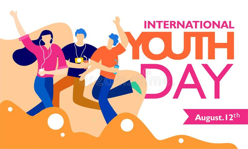 International youth day, August 12 th. with active and passionate young people illustration stock illustration