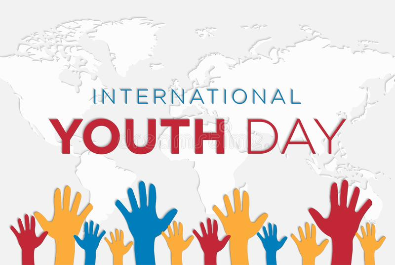 International Youth Day Background Vector with Hands stock illustration