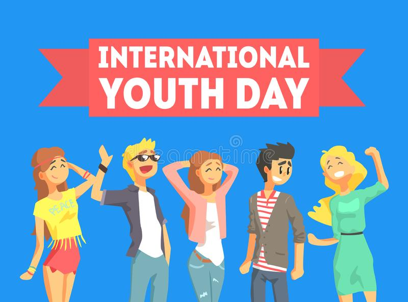 International Youth Day Banner Template, Group of Young People Celebrating Holiday Vector Illustration stock illustration