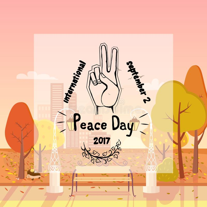 Internationale Affiche 21 September 2017 van de Vredesdag royalty-vrije illustratie