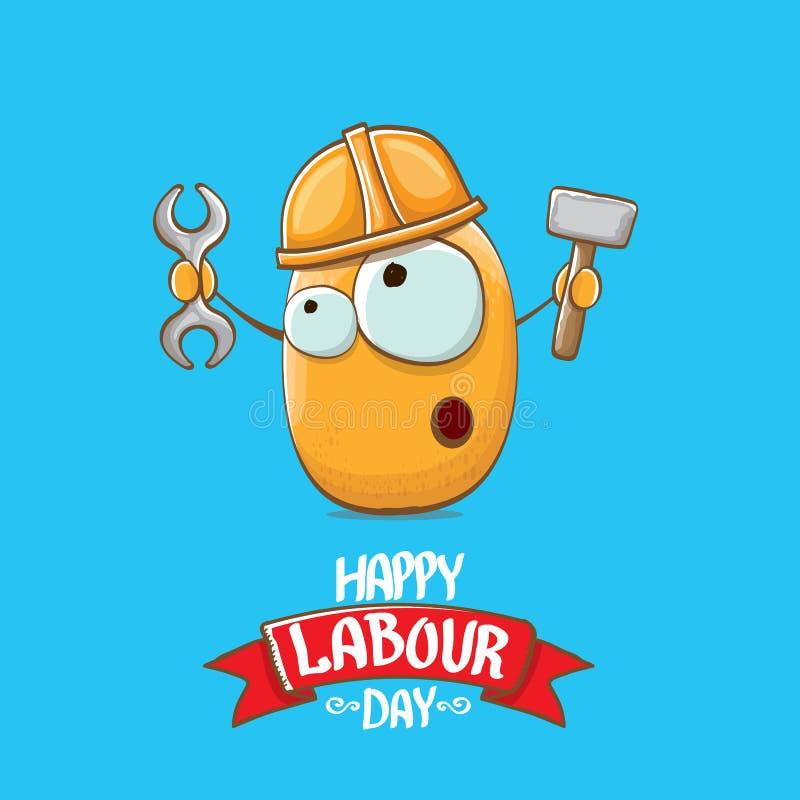 Internationale arbeidersdag of van de arbeidsdag groetkaart vector grappige beeldverhaal bruine het glimlachen arbeidersaardappel royalty-vrije illustratie