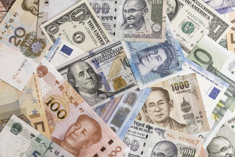 Internationale Banknoten von der Welt major Länder unter Verwendung als Vorderteil lizenzfreie stockbilder
