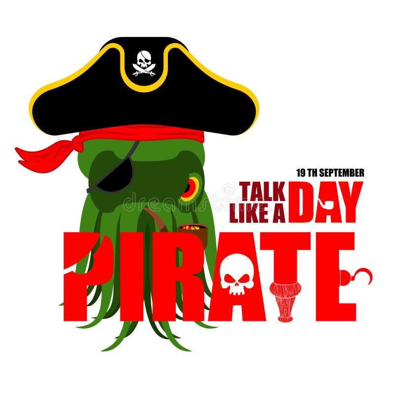 Internationale Bespreking zoals een Piraatdag Octopuspiraat vector illustratie