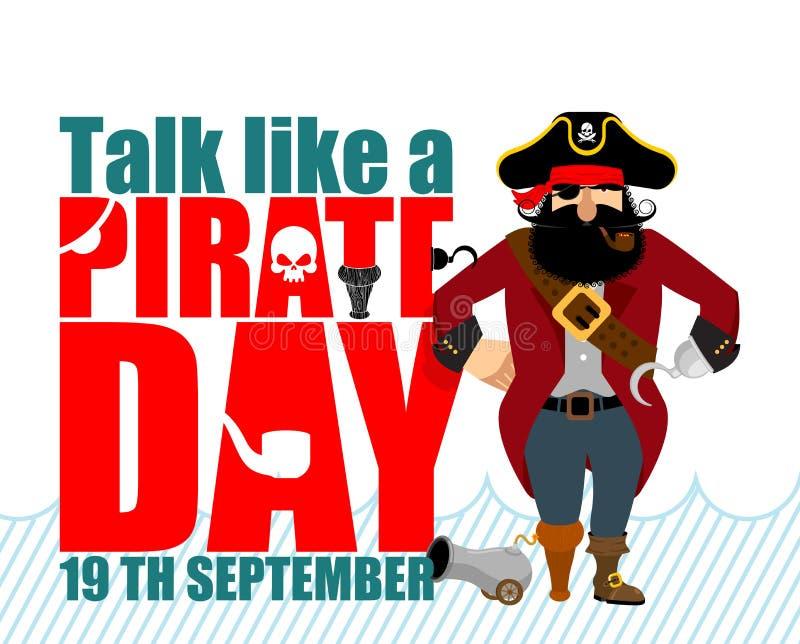 Internationale Bespreking zoals een Piraatdag Ppiratehaak en kanon stock illustratie